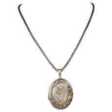 Victorian Sterling Aesthetic Locket and Chain; Floral Leaf Bird Motifs