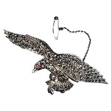 1940s English Hallmarked Sterling Eagle Bird Brooch with Marcasites
