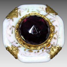 Victorian Porcelain Sash Buckle with Glass Amethyst