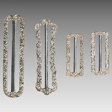 4 Sterling Silver Victorian Sash Buckles; circa 1900