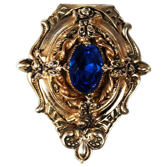 Vintage Victorian Inspired Dress Clip with Royal Blue Rhinestone