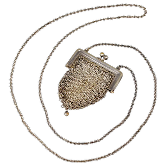 Miniature Victorian Chatelaine Mesh Coin Purse
