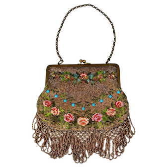 Victorian Beaded Purse with Glass Jewels and Floral Roses