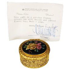 Victorian French Filigree Ormolu Jewel Trinket Box with Hand Painted Roses