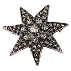 Victorian Sterling Silver Celestial Star Brooch