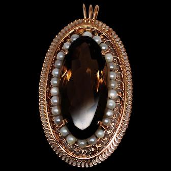 Large Vintage 14Kt Pearl & Smoky Quartz Convertible Pendant Brooch