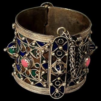 Vintage Ethnic Berber Silver Enameled Bracelet; Boho