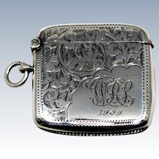 Edwardian Sterling Match Safe Vesta Case; British Hallmarked 1908; Monogrammed