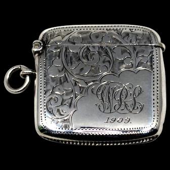Edwardian Sterling Match Safe Vesta Case; British Hallmarked 1908; Monogrammed