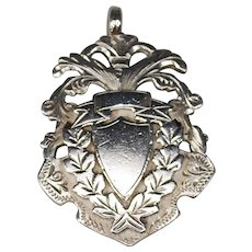 Antique British 1904 Sterling Watch Fob Medal