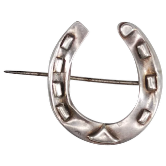 English Victorian Sterling Horseshoe Brooch; Good Luck Pin c. 1883