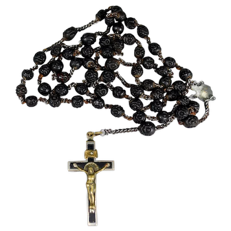 Victorian Mourning Bog Oak Rosary and Crucifix; circa 1900