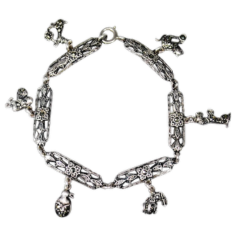 Art Deco Marcasite Charm Bracelet with Animals, Bird & Insect