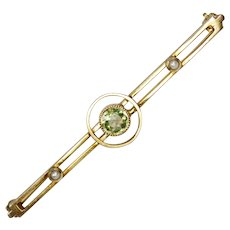 14K Art Deco Seed Pearl Peridot Bar Brooch