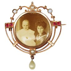 Victorian Photo Brooch with Children; Opals & Faux Stones