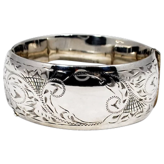 Vintage Etched Sterling Silver Bangle Bracelet