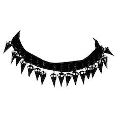 Victorian Black Glass Dangle Velvet Choker Necklace