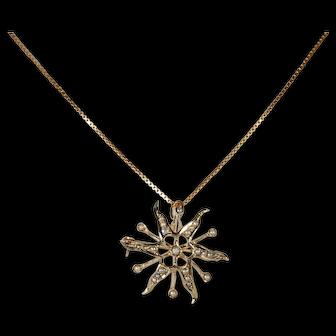 Edwardian 10k Star Burst Seed Pearl Pendant Brooch