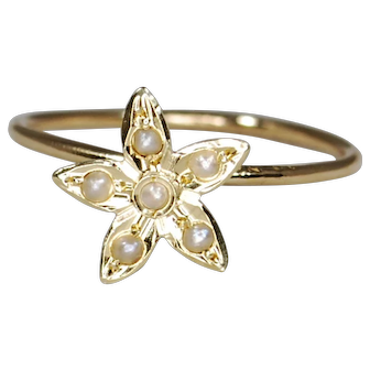 14K Victorian Seed Pearl Star/Floral Conversion Ring