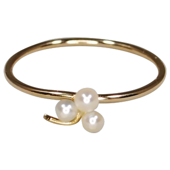 14K Victorian Seed Pearl Clover Conversion Ring