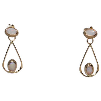 Vintage 14k Opal Earrings; Night and Day