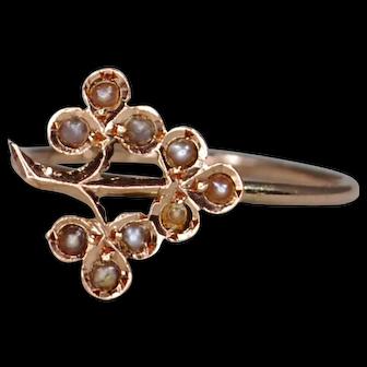 10k Victorian Seed Pearl Clover/Shamrock Conversion Ring; Midi Ring