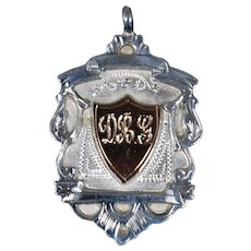 Antique Edwardian Sterling and Gold Watch Fob Medal; circa 1908; Initials DBG