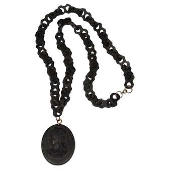 Victorian Vulcanite Chain Necklace with Cameo Pendant