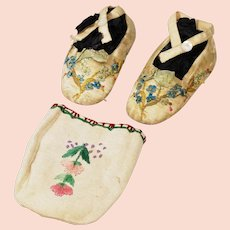 Victorian Baby Slippers/Shoes Silk Embroidered
