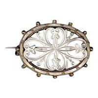 Sterling Silver Pierced Victorian Brooch