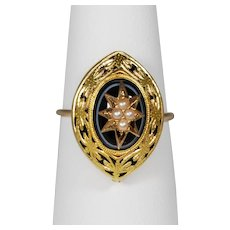 14k Victorian Seed Pearl Starburst Banded Agate Enamel Ring Conversion