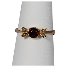 Antique 9ct Garnet and Seed Pearl Ring
