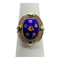 Vintage 14k Floral Guilloche Enamel Ring
