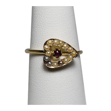 Victorian Gold Ruby Seed Pearl Heart Ring; Pin Conversion