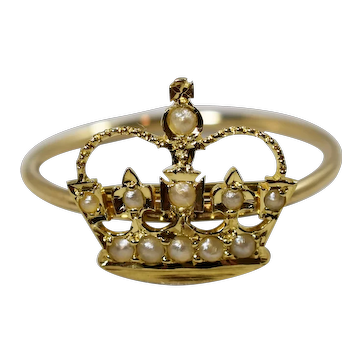 Victorian Gold Seed Pearl Tiara Crown Ring; Brooch Conversion