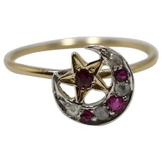 Victorian Gold Silver Ruby Diamond Crescent Star Ring; Pin Conversion
