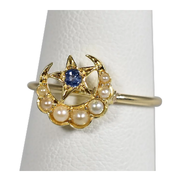 Victorian Gold Sapphire Seed Pearl Crescent Star Ring; Pin Conversion