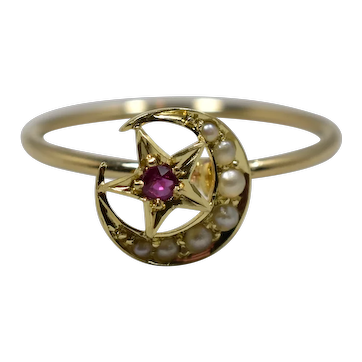 Victorian Gold Ruby Seed Pearl Crescent Star Ring; Pin Conversion