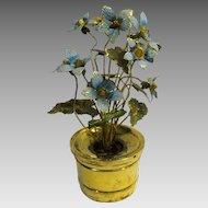 "Vintage Gorham sterling silver 5 1/2"" figural flower pot with flowers"