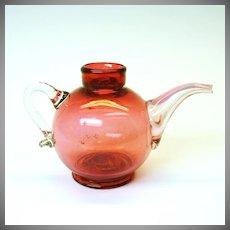 Rare cranberry glass tea pot formed baby feeder bottle