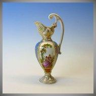 Antique miniature Dresden hand painted porcelain fancy Ewer