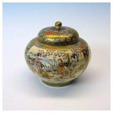 Fine Meiji Japanese satsuma lidded pot artist signed
