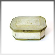 Fine early engraved antique mother of pearl patch box