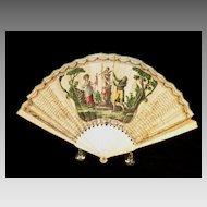 Rare 1700's printed paper Ladies hand fan