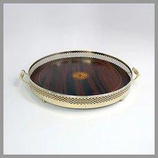 American sterling silver mahogany inlaid serving tray