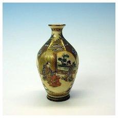 Antique signed Japanese miniature satsuma cabinet vase
