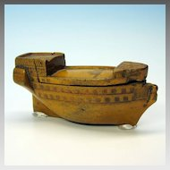 Early wooden snuff box in the form of a tall ship hull