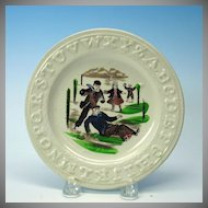 1870's child's ABC plate with Ice Skaters Winter scene