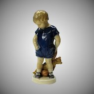 Vintage Royal Copenhagen boy with Teddy bear figure