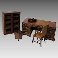 Salesman's sample miniature desk, chair bookcase set